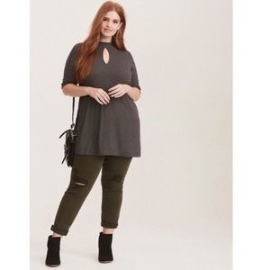 Torrid ribbed charcoal tunic with mock neck 2X